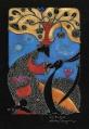 Kot i Noc  (16x24 cm, ołówek, kredki)