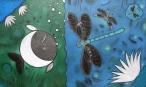 Nieważkie bąbelków puszczanie  (50x80 cm, pastele olejne, ołówek, kredki)