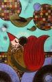 Lekcja latania  (50x80 cm, pastele olejne, ołówek)
