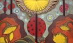 Pan Biedronka bada plamy na słońcu  (55x80 cm, pastele olejne, akwarele, ołówek)